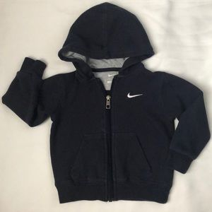 NIKE- Infant Boys Navy Zip Front Fleece Hoodie